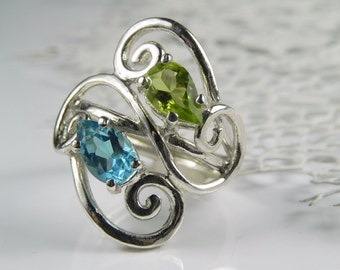 Blue Topaz Ring - Peridot Ring - Gemstone Wave Ring - Sterling Silver Swirl -  Blue Topaz Peridot Jewelry - Blue Green - Birthstone Ring