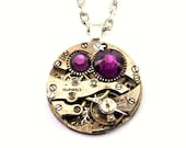 Steampunk Necklace - Vintage Clockwork Design with Amethyst Purple Swarovski Crystals -  PROMPTLY SHIPPED Steampunk jewelry