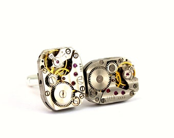 Steampunk Cufflinks Perfectly Matched Silver and Gold Clockwork Cufflinks Steam Punk Wedding Groom Vintage designed by London Particulars