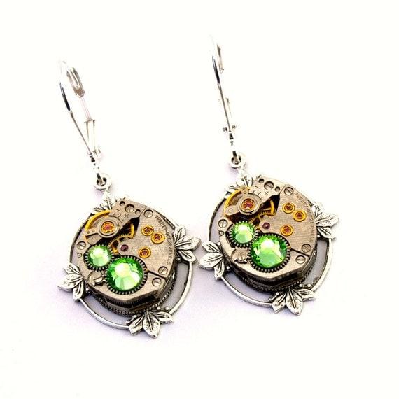 Steampunk Earrings - Lush Vintage Clockwork Lever Back Dangles & Light Peridot Green Swarovski Crystals - Promptly Shipped Steampunk Jewelry
