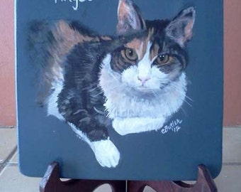 Tortoise Shell Cat Portrait, display disk, cat memorial disk on display stand,acrylic on wood, hand made disk,orange,black,white