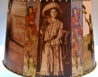 8 X 10 CLIP TOP Cowgirl, Western Decor, Lamp Shade