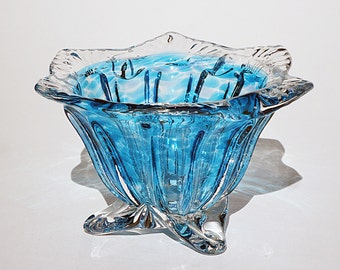 Festive Glass Bowl - Hand Blown - Free Shipping
