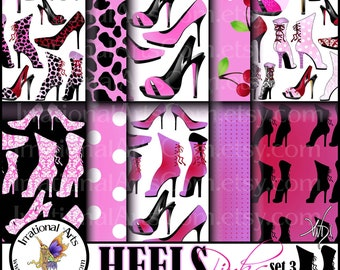 HEELS Pinks Set 3 - digital papers for scrapbooking patterned with High Heels with Victorican, Corset, etc details {Instant Download}