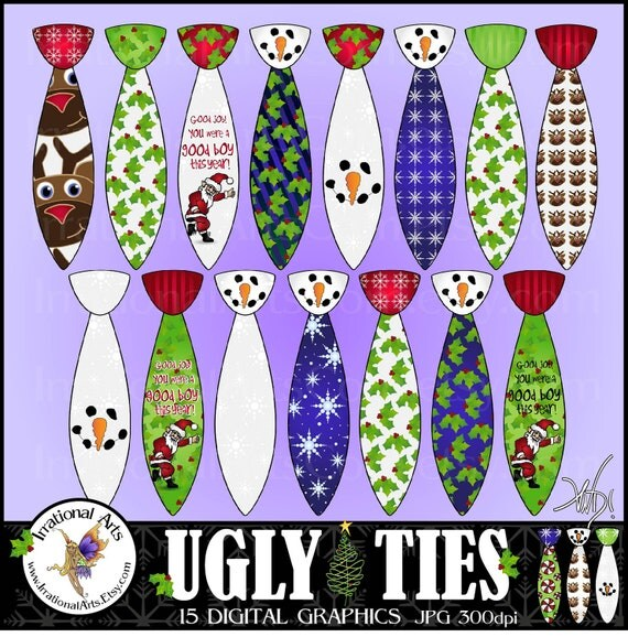INSTANT DOWNLOAD Ugly Christmas Ties set 1 with 15 digital