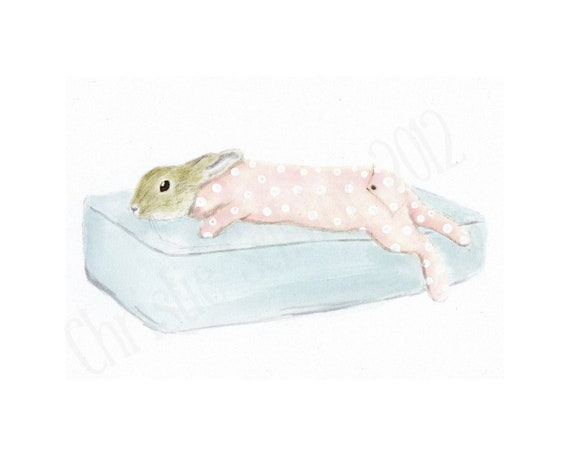 Original Watercolor Painting Baby Bunny Rabbit Coral Polka Dot Dreamy Shabby Nursery toddler decor