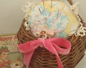 Upcycled Quilt Pin Cushion in Hanging Basket Repurposed
