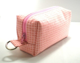 Small Zipper Box Pouch Project or Travel Case Pink Houndstooth