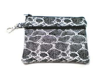 Larger Zippered Wallet Change Purse Gadget Case Black and White Snake Skin