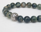 Natural Kyanite Blue and Green Smooth Polished Round Bead Sterling Silver Stretch Bracelet
