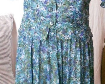 Vintage 2 pc DRESS, SKIRT, BLOUSE, 1960 s, home made, secretary, abstract print, sweet style