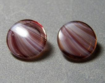 Vintage Czech Amethyst and White Pressed Glass Button 15mm (1)