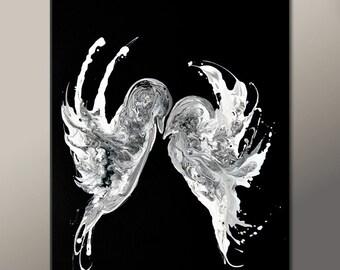 Abstract Art Print 11x14 Contemporarary Modern Black & White Bird Art Prints by Destiny Womack - dWo - Eternal Embrace