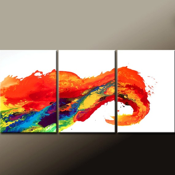 Abstract Canvas Art painting Huge 3pc 72x36 Made to Order Contemporary Original Canvas Wall Art by Destiny Womack  - dWo -