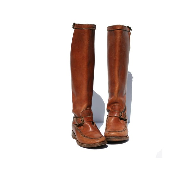 Vintage Mocha Brown GOKEYS Leather Strap Riding Boots size: 6.5