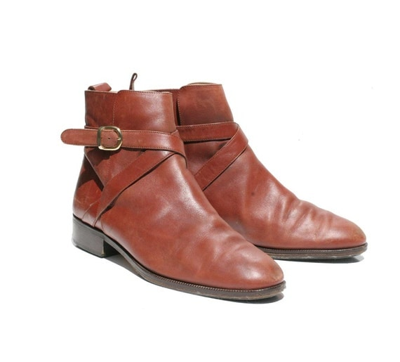 Vintage Italian BALLY Mocha Brown Leather Strap Boots size 9.5