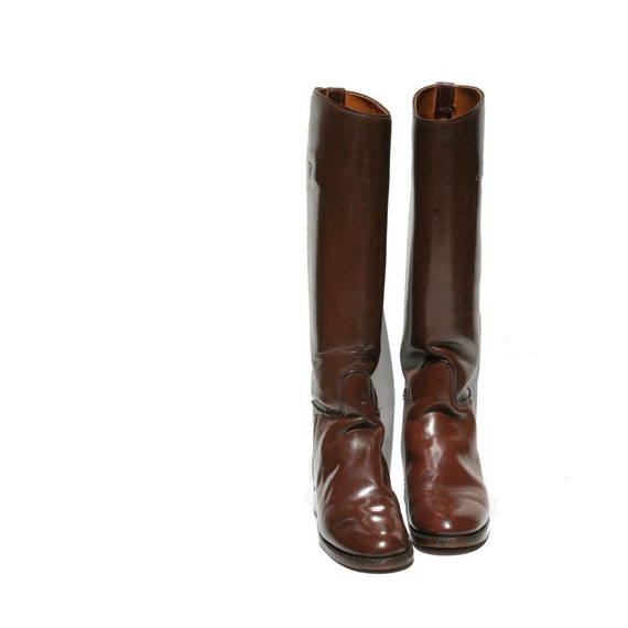 Mocha Brown Leather Riding Boots size 7