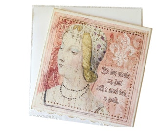 Renaissance Lady Card, Blank Medieval Card, Shakespeare Era Greeting Card, Middle Ages Note, Medieval Lady, Gift Card, Love