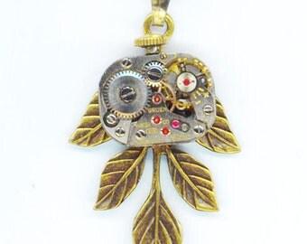 Steampunk Pendant . Vintage Small Jewel Watch Movement . Steam Punk Industrial Victorian - Leaf Elegance by enchantedbeas on Etsy