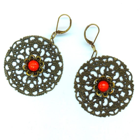 Antique Brass Filigree Earrings . Faceted Red German Glass . Statement  Earrings . Large Filigree - Evening Romance by enchantedbeas on Etsy