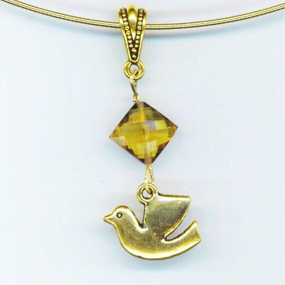 Dove Charm Pendant . Faceted Quartz Diamond . Cognac Caramel Quartz Stone . Golden Primitive Bird - Charming Love by enchantedbeas on Etsy