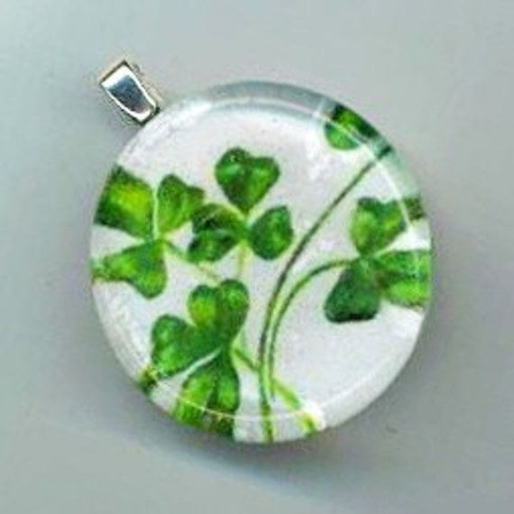Shamrock Glass Pendant Round Glass Tile Clover Jewelry Shamrock Jewellery Silver Plated Ball Chain - Good Luck by enchantedbeas on Etsy