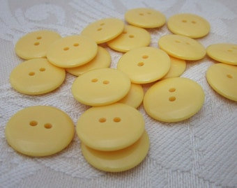 Plain Gloss Yellow Buttons 20mm 24 pieces