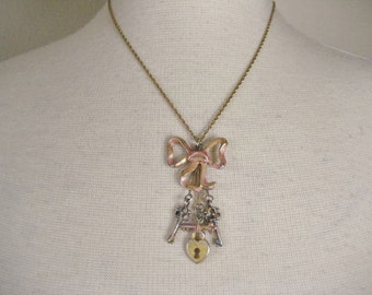 Vintage Bow Heart Lock and Key Steampunk Style Necklace
