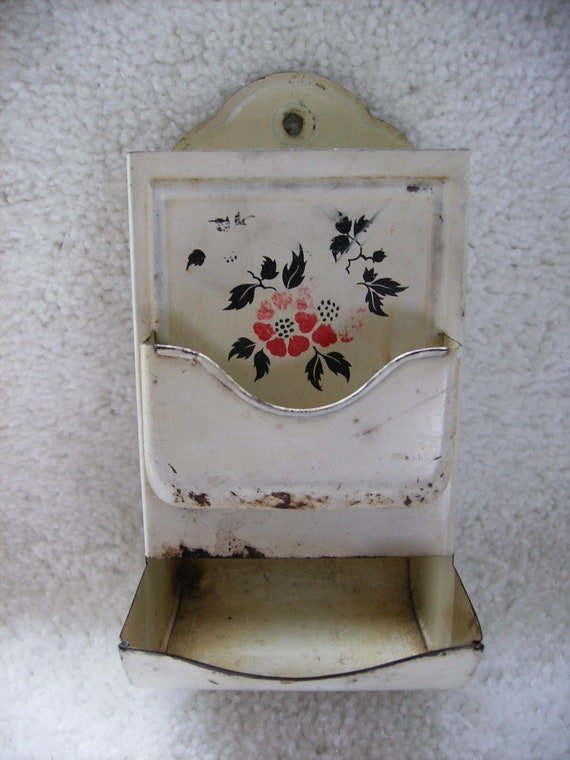 Painted Enamel Tin Matchbox Holder with Flowers Kitchen Kitsch