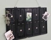 Vintage receipt holder rack - industrial memory board - paper rack metal black with numbers photos christmas cards notes