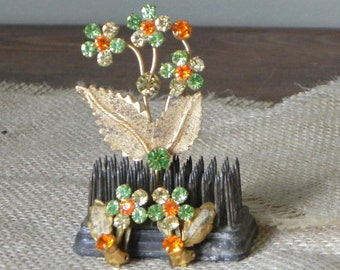 Vintage pin brooch and earring set - peridot green orange floral daisy daisies gold tone metal