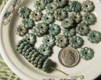 Turquoise Metalized Plastic Beads - 24 pcs - Vertigris