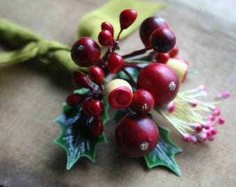 Red Glittered Stamen Posy - Vintage Cranberry Millinery Bouquet - Holiday Holly and Berry Spray - Christmas Wedding Floral Spray