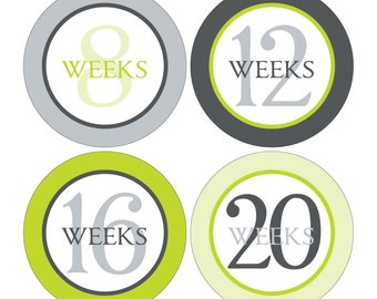 12 Weekly Pregnancy Mama-to-be Maternity Waterproof Glossy Stickers  - Monthly stickers available - Design W005-03