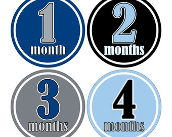 12 Monthly Baby Milestone Waterproof Glossy Stickers - Just Born - Newborn - Weekly stickers available - Design M003-04