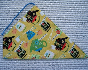 Chopstick Cozy with Chinese teapots outside and mint green leafy print inside, Yellow Black Green Blue, Chinese Takeout Box, Fortune Cookie