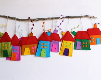 House ornaments Decoration, Set of eight Felt Houses for wall hanging, Holiday gift for everyone, kids wall art, Rainbow colors