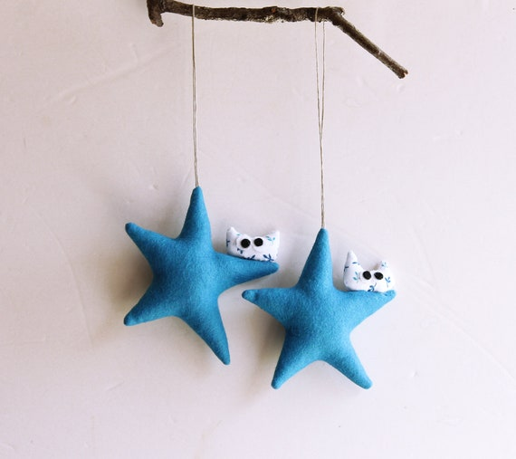 Tree decorations,Two blue stars with owl, Felt Decoration wall hanging. Christmas ornament, Home decor for christmas