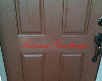 Merry Christmas or Seasons Greetings vinyl lettering decal for front door 23 x 6.5