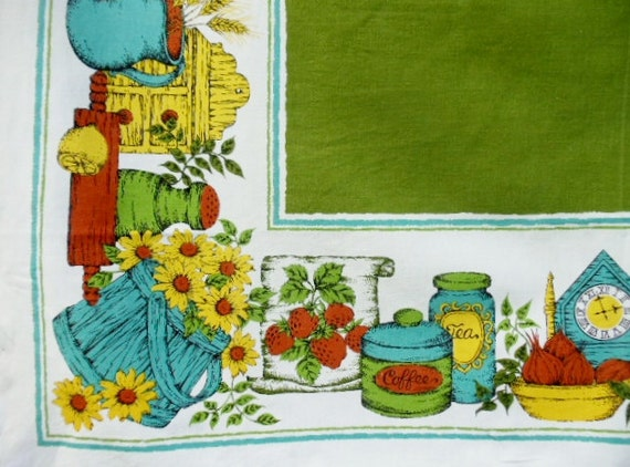Vintage Kitchen Tablecloth Green Country Fair