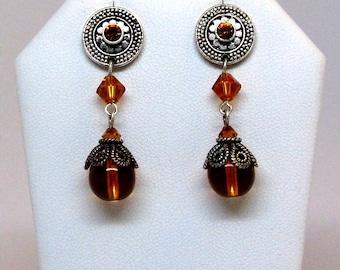 Amber Glass & Swarovski Dangle Earrings