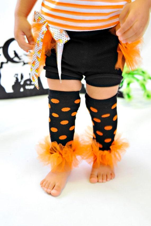 "LAST PAIR - Blk-Orange Halloween polka-Dots Bunny Leg Girls Ruffled Tutu Leg Warmers perfect for crawling babys 6m to 5T approx 8"" long"