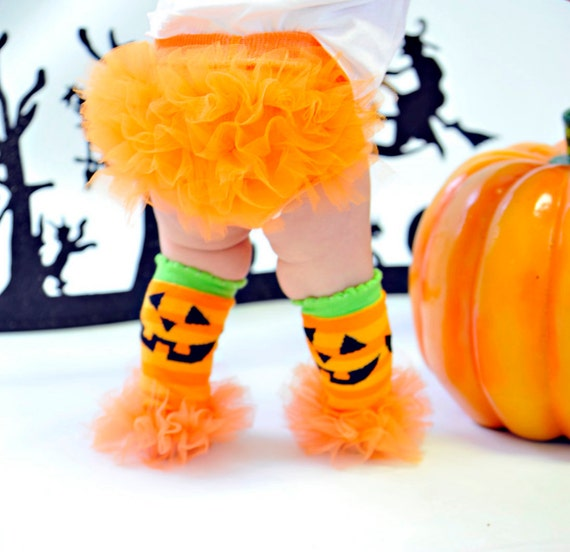 "BOGO SALE - Halloween Jack-o-Latern Bunny Legs Girls Ruffled Tutu Leg Warmers - Perfect for crawling babys 6m to girls 3T approx 6""long"