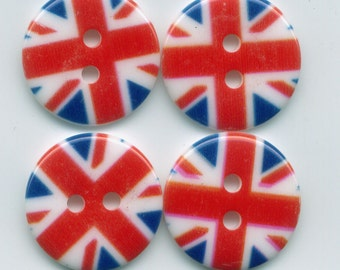 Union Jack Buttons Decorated British Flag Buttons 18mm (3/4 inch) Set of 8 /BT11