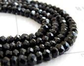 Black Onyx Rondelle Gemstone Faceted  5mm Full strand Wholesale Last Lot