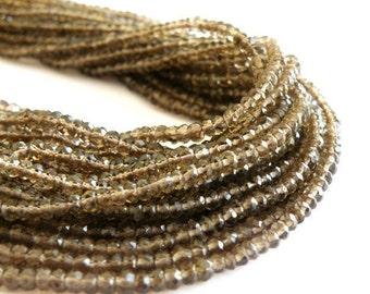 Smoky Quartz Rondelle Gemstone AAA Chocolate Brown 3.5mm 120 beads FULL Strand