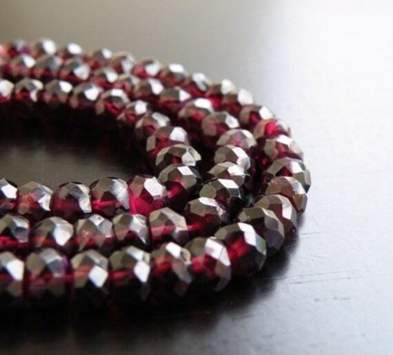 Garnet Gemstone Rondelle Dark Maroon Faceted 5.5mm 1/2 Strand 40 beads