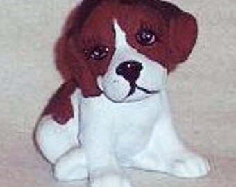 Vintage Hand Painted Ceramic Beagle Puppy, Vintage Dog Figure, Collectible Dog