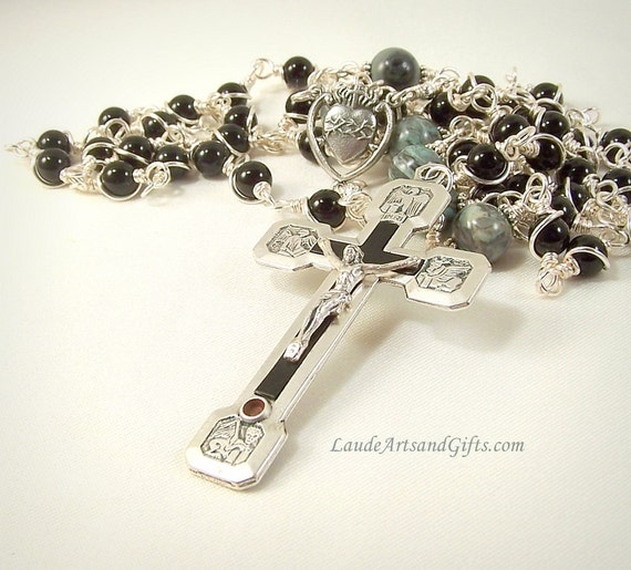 Stations of the Cross Rosary Prayer Beads Relic Crucifix Sacred Heart Black Onyx Unbreakable