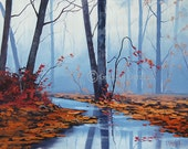 Fall Painting Autumn Artwork  Oil on canvas River Fine Art Graham gercken